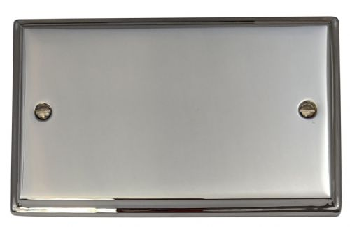 G&H DC32 Deco Plate Polished Chrome 2 Gang Double Blank Plate